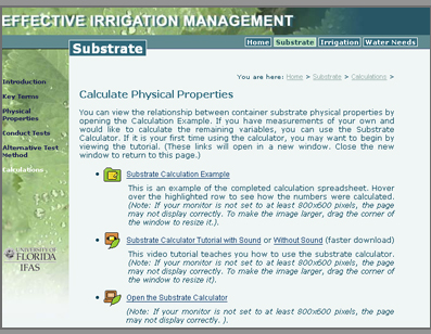 Screenshot of the Effective Irrigation Management Site