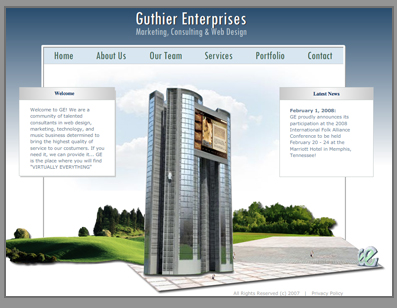 Screenshot of the Guthier Enterprises Site