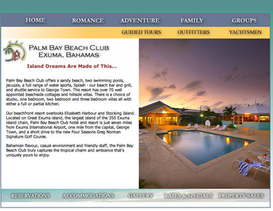 Screenshot of the Palm Bay Beach Club Site
