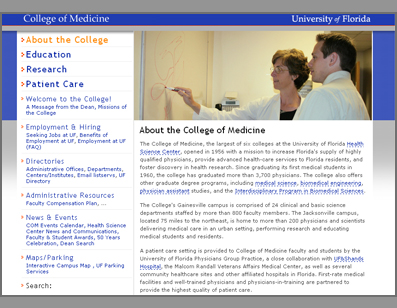 Screenshot of the College of Medicine Site