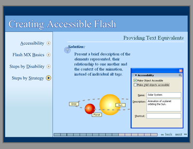 Screenshot of the Creating Accessible Flash module