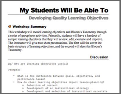 Screenshot of the Learning Objectives Series Notes