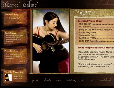 Screenshot of the Marce Online Site