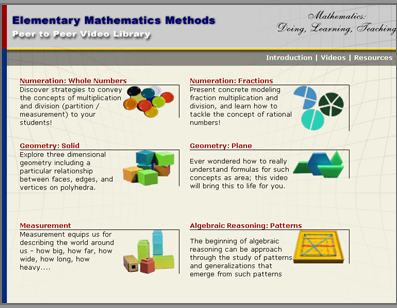 Screenshot of the Math Video Library Site