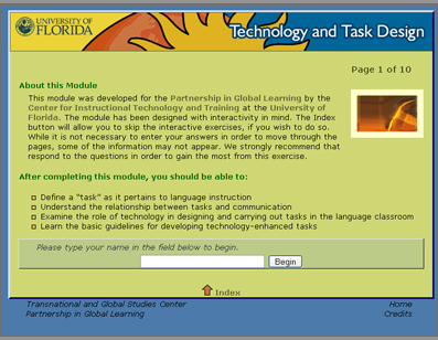 Screenshot of the Teaching with Technology Modules